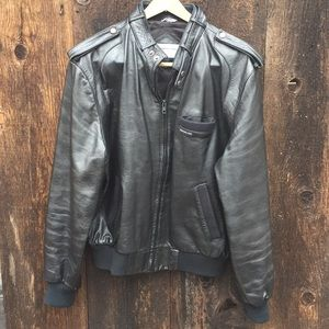 Vintage 80s Members Only Blk Leather Racer Jacket